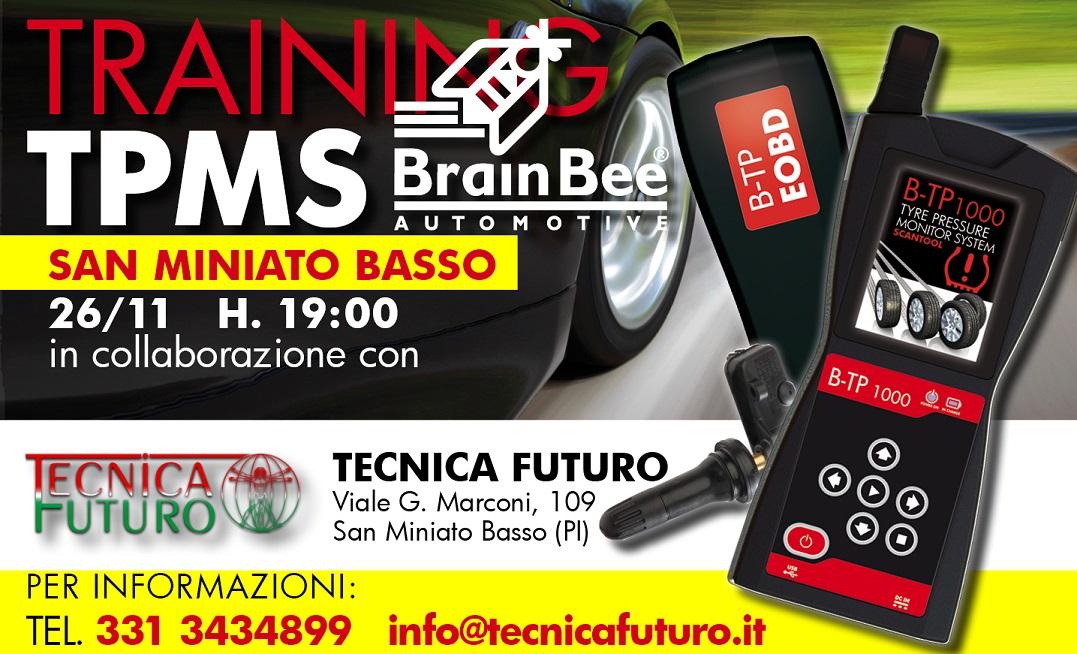 TECNICA FUTURO e BRAIN BEE in aula per parlare di diagnosi sensori TPMS il 26 novembre 2015